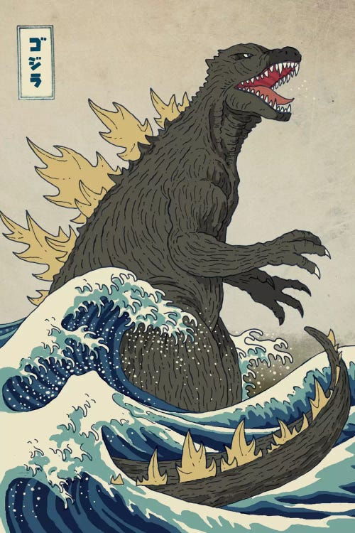 Classic art reimagined of The Great Wave with a dinosaur by iCanvas artist Michael Buxton