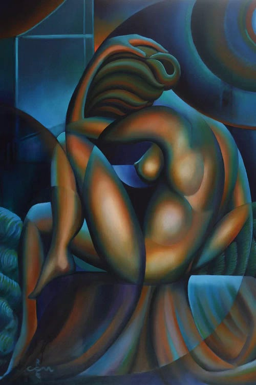 Classic art print of Picasso's Blue Nude reimagined through cubism by iCanvas artist Corne Akkers