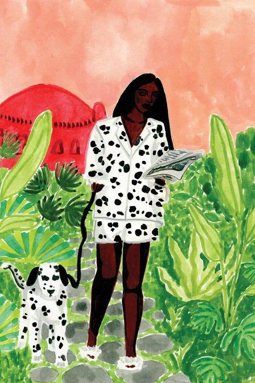 Wall art of Black woman in polka dot outfit walking Dalmatian by new icanvas creator Caroline Chessia