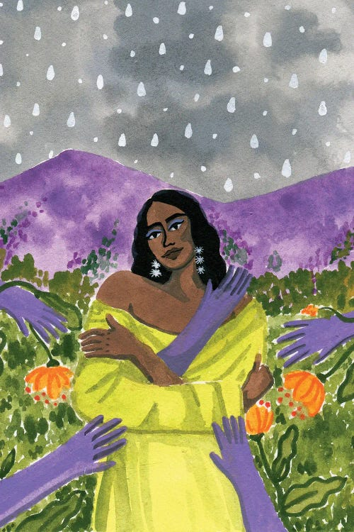 Wall art of Brown-skinned woman wearing yellow with purple hands reaching at her