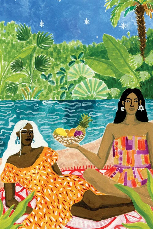 Wall art of two dark-skinned woman floating on the river by new creator Caroline Chessia
