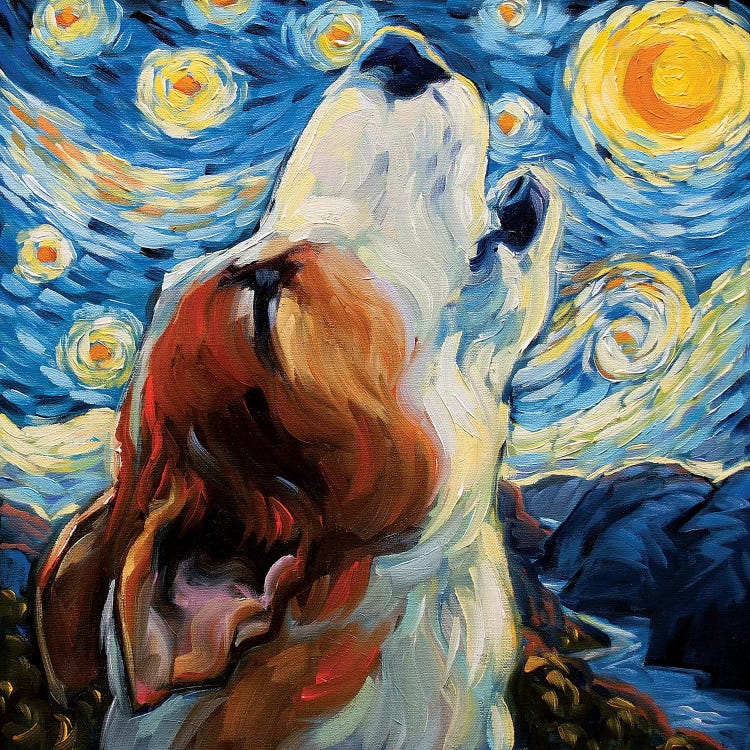 Classic art of Van Gogh's Starry Night reimagined with howling dog by iCanvas artist CJ Towensend