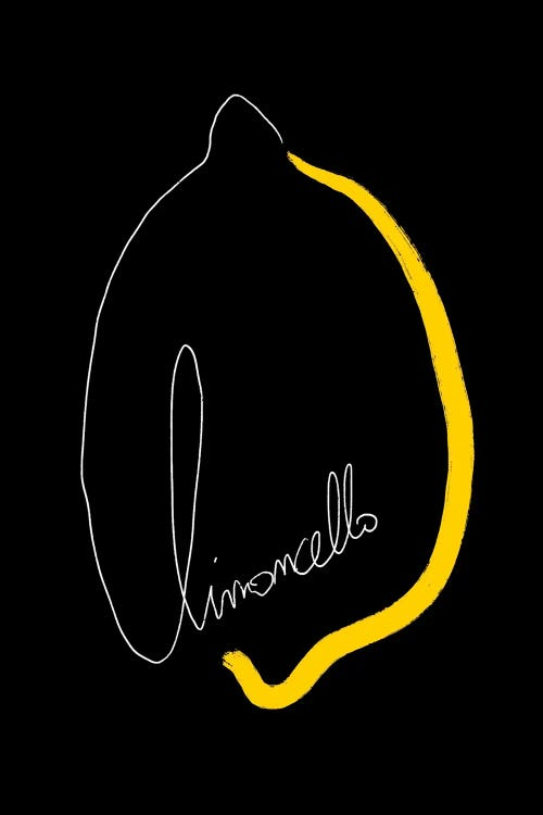 """Black wall art with outline of a lemon and word """"limoncello"""" by new icanvas creator Atelier Posters"""