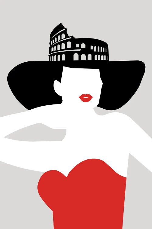 Wall art of womans silhouette with Colosseum hat by new creator Atelier Posters