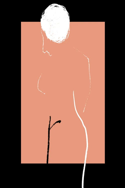 Pink and black wall art with the outline of a nude body by Atelier Posters