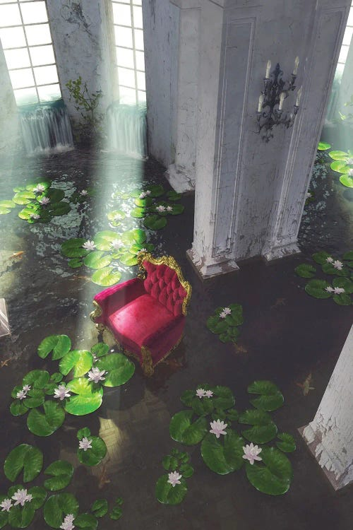 Surreal art of pink sofa in a room filled with water and lilypads by new creator Cynthia Decker