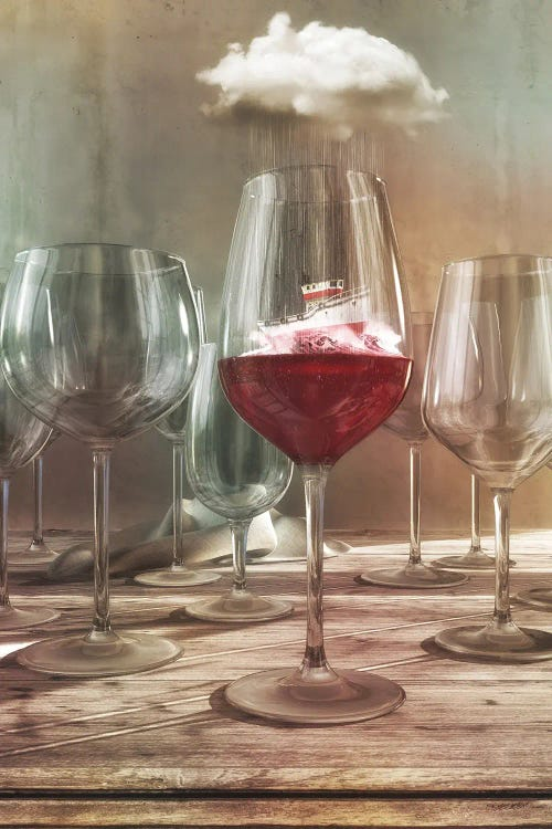 Surreal art of a boat sailing in a glass of red wine by new icanvas artist Cynthia Decker