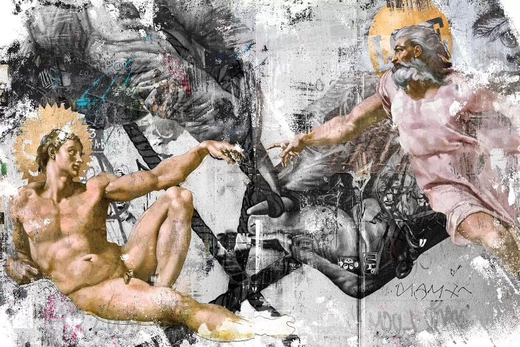 Classic art with a twist of The Creation of Adam in street art style by iCanvas artist Danilo de Alexandria