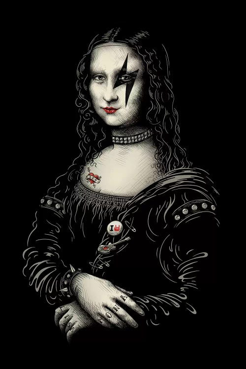 Classic art with a twist of Mona Lisa as a member of the band KISS by iCanvas artist Enkel Dika