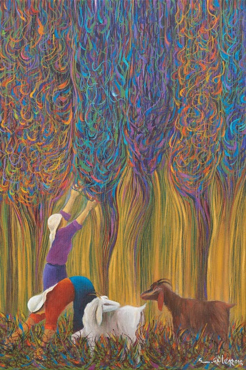 Wall art of two people working the land with two goats by new icanvas creator Emin Guler