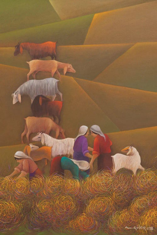 Wall art of goats and farm workers in a field by new icanvas artist Emin Guler