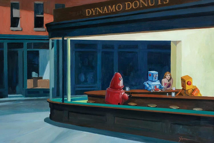 Classic art with a twist of Nighthawks reimagined with robots at diner by iCanvas artist Eric Joyner