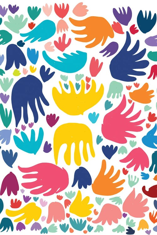 Classic art print reimagining Matisse's cut-outs with vibrant colors and shapes by iCanva artist Emmanuel Signorino