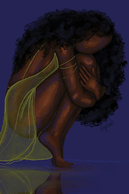 Classic art print of Picasso's Blue Nude reimagined with Black faceless woman with natural hair and gold dress by Colored Afros Art