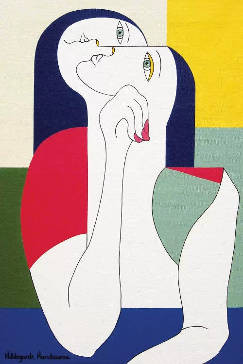 Modern classic art of Gustav Klimt's The Kiss reimagined with abstract shapes and colors by iCanvas artist Hildegarde Handsaeme
