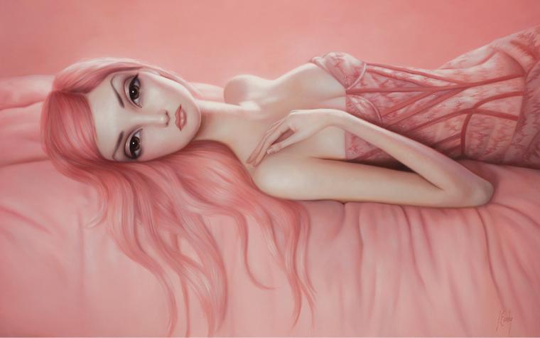 Pop Surrealism art of woman with pink hair by icanvas artist Lori Earley