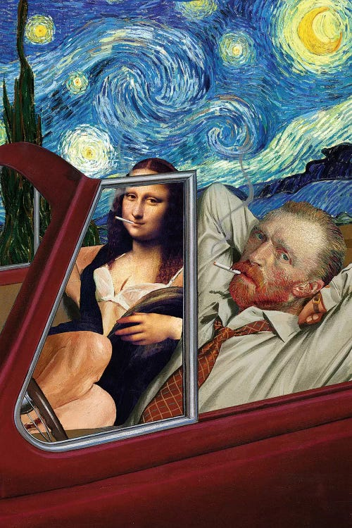 Classic art print of Van Gogh's Starry Night reimagined with Van Goh and Mona Lisa in convertible by iCanvas artist Barry Kite