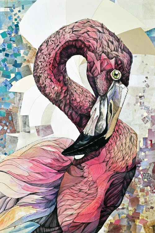 Wall art of a geometric pink flamingo by new icanvas creator Irene Meniconi