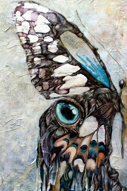Painting of half of a butterfly wing with blue and gray by new icanvas artist Irene Meniconi