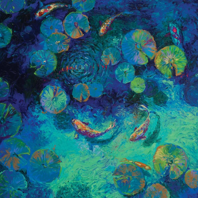 Classical art of Monet's Water Lilies reimagined with blues and Taiwanese fish by iCanvas artist Iris Scot