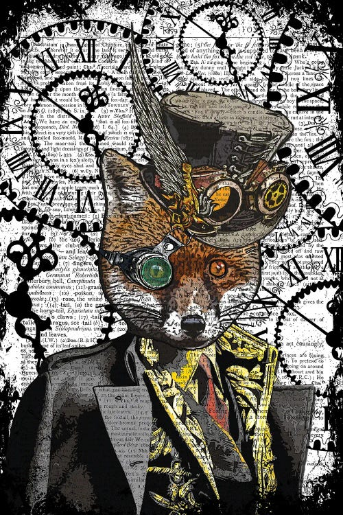 Art of Steampunk fox against dictionary background by new icanvas artist in the frame shop
