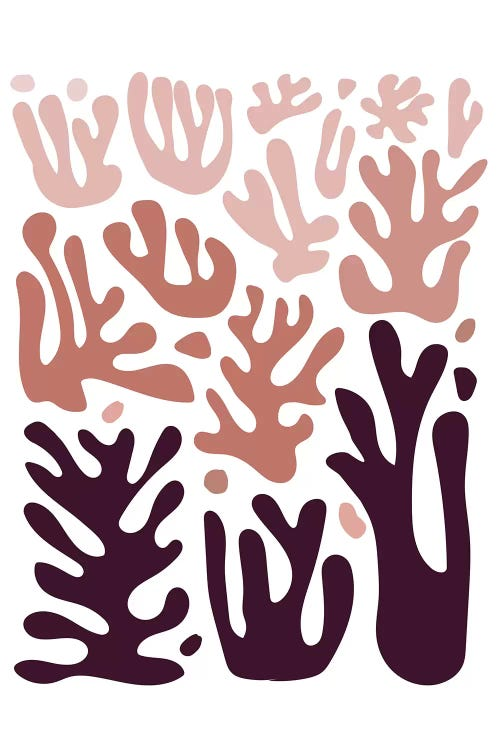 Classic art print reimagining Matisse's cut-outs as coral shapes in shades of pink by iCanvas artist Izabela Pichotka