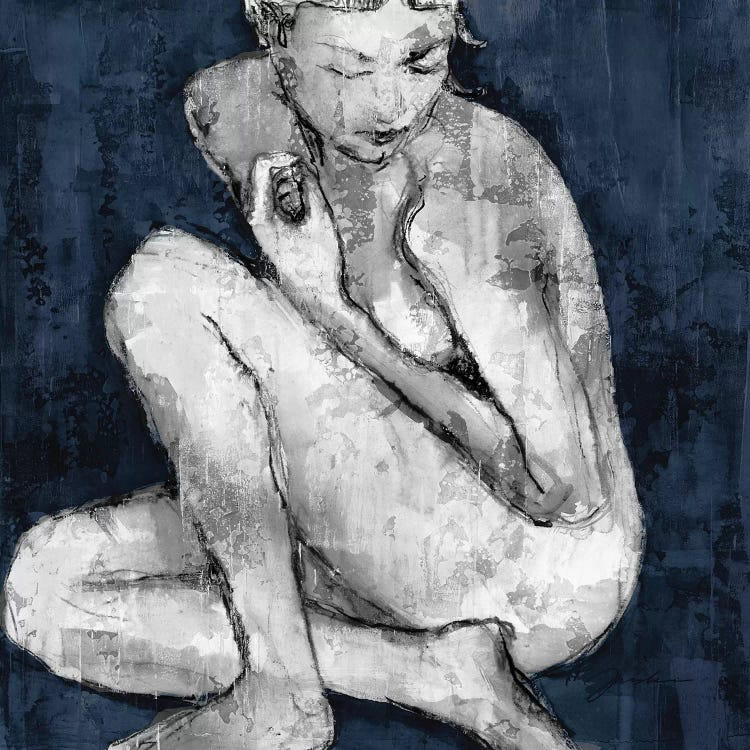 Modern classic art of reimagined version of Picasso's Blue Nude by iCanvas artist Liz Jardine