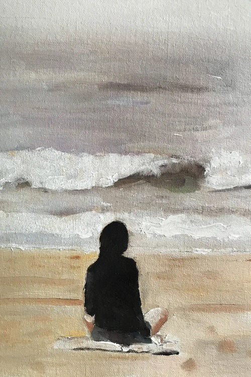 Painting of a woman looking out at the ocean by new icanvas creator James Coates