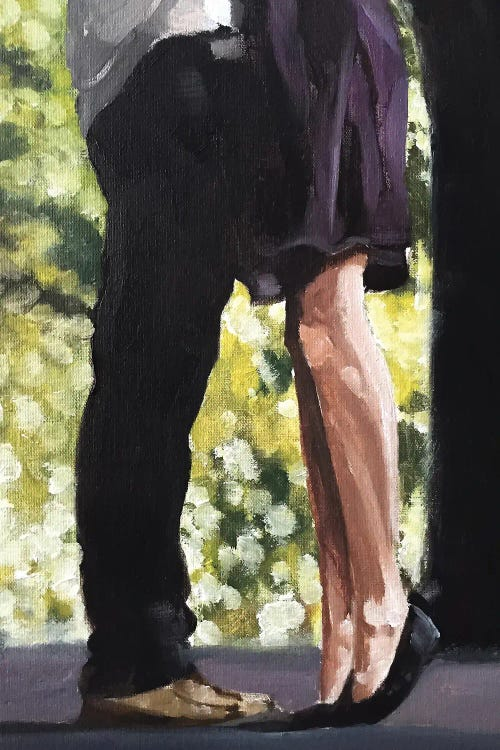 Painting of the legs of a couple embracing by new icanvas artist James Coates