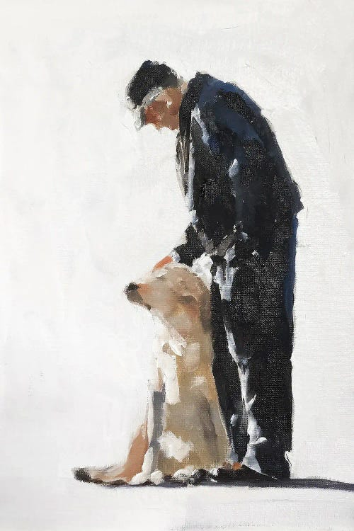 Painting of a man and his golden lab by new creator James Coates