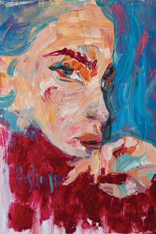Colorful painting of woman's face by new icanvas creator Kristi Goshovska