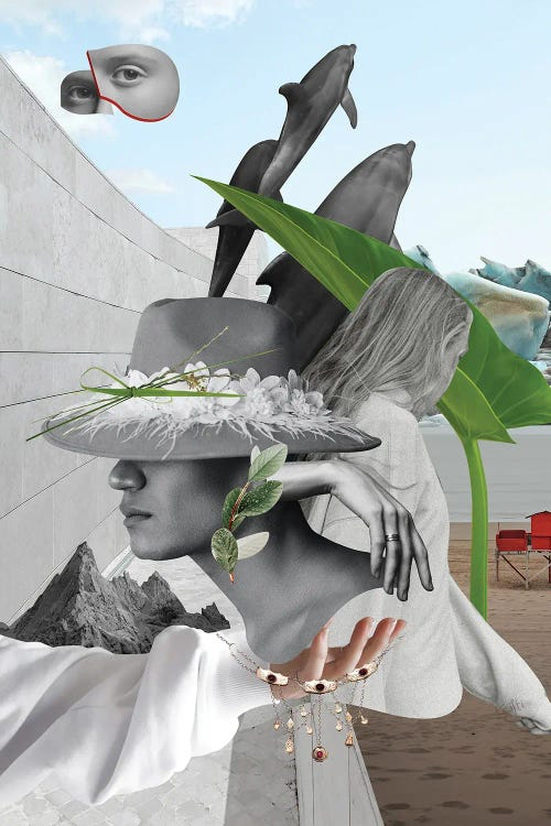 collage featuring womans face, plants and dolphins by new icanvas creator Kristi Goshovska