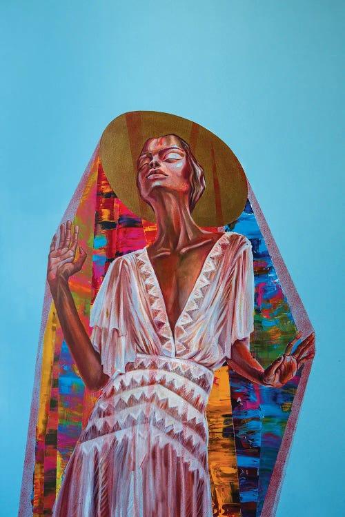 Surreal art of Black woman wearing hat, white dress and colorful shawl by new icanvas creator Kristi Goshovska