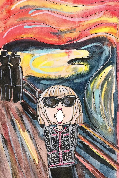 Classic art with a twist of The Scream reimagined with Anna Wintour by iCanvas artist Kahri