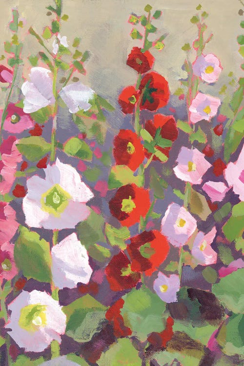 Painting of pink, white and red flowers by new creator Luanne Marten