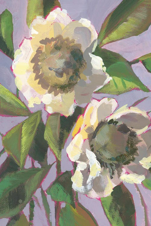 Painting of two white flowers by new icanvas artist Luanne Marten