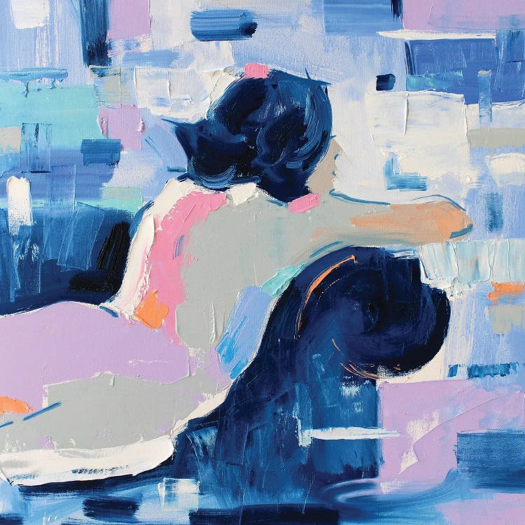 Modern classic art of reimagined version of Picasso's Blue Nude with pinks and purples by iCanvas artist Li Zhou