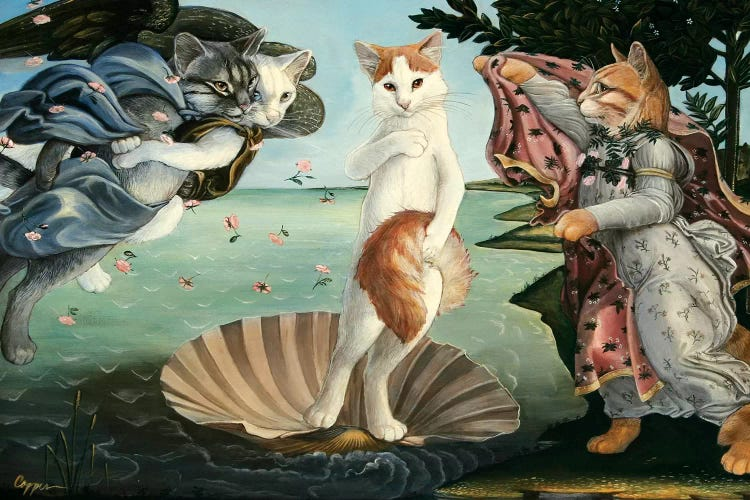 Classic art with a twist of Birth of Venus featuring kittens by iCanvas artist Melinda Cooper