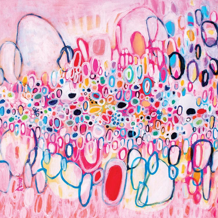 Modern classic art reimagining Kandinsky's circles with pink and blue abstracts by iCanvas artist Misako Chida