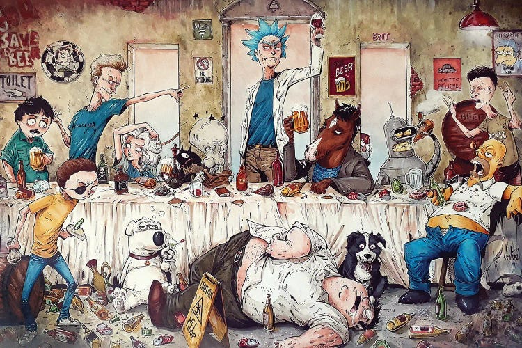 Classic art reimagined of The Last Supper featuring Adult Swim characters by iCanvas artist Marcelo Ventura