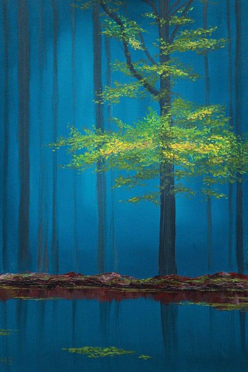 Nature art of woods at night by new icanvas creator Marina Zotova