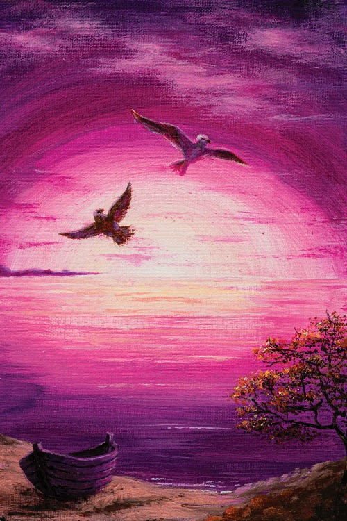 Nature art of purple sunset with two birds flying by new icanvas creator Marina Zotova