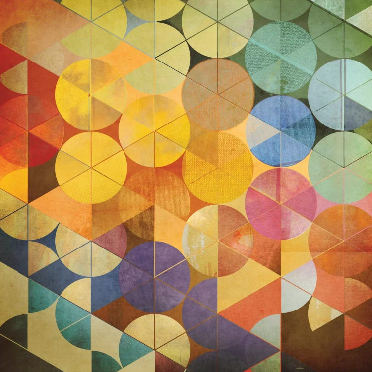 Modern classic art reimagining Kandinsky's circles with colorful transparent circles by iCanvas artist NOAH