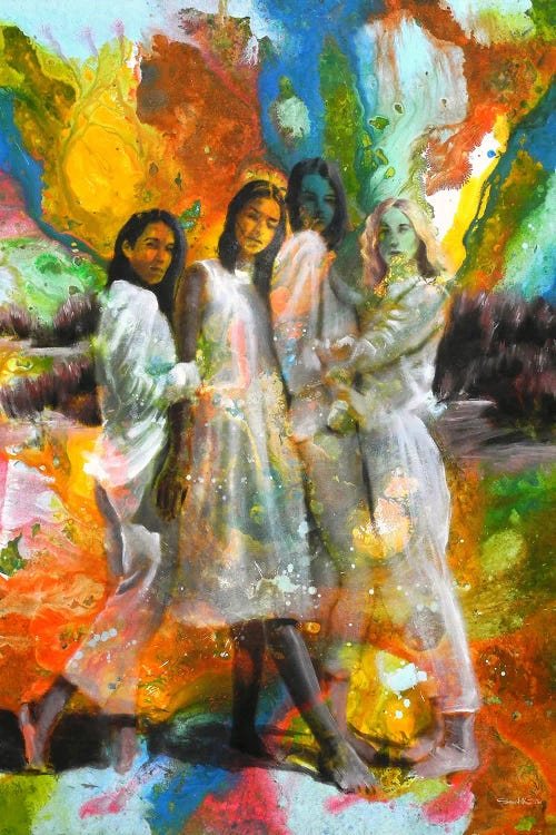 Wall art of four ladies in white with abstract colorful paint splattered across them by new creator Saad Nazih