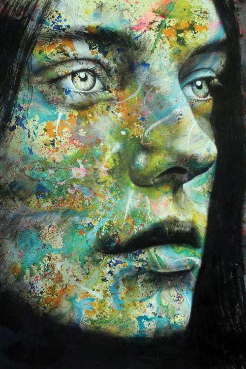Wall art of a womans face filled with abstract paint by new icanvas creator Saad Nazih