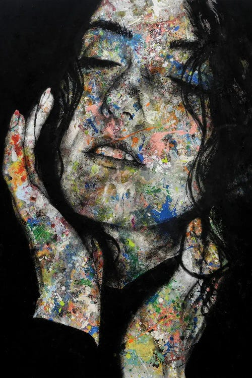 Portrait of a woman with colorful paint splattered on face by new icanvas artist Saad Nazih