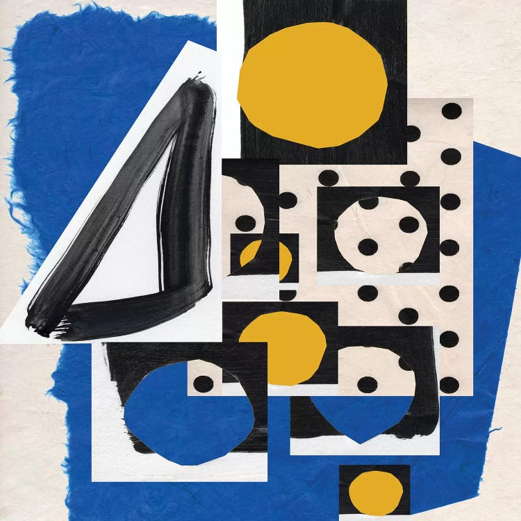 Classic art print reimagining Matisse's cut-outs with blue, yellow and black shapes and patterns by iCanvas artist Pamela Staker