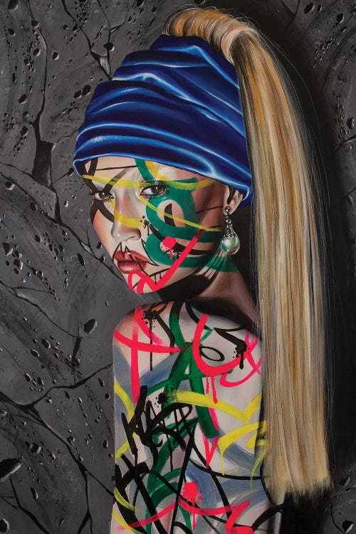 Classic art with a twist of Girl With a Pearl Earring reimagined with graffiti over face by iCanvas artist Roxy Peroxyde