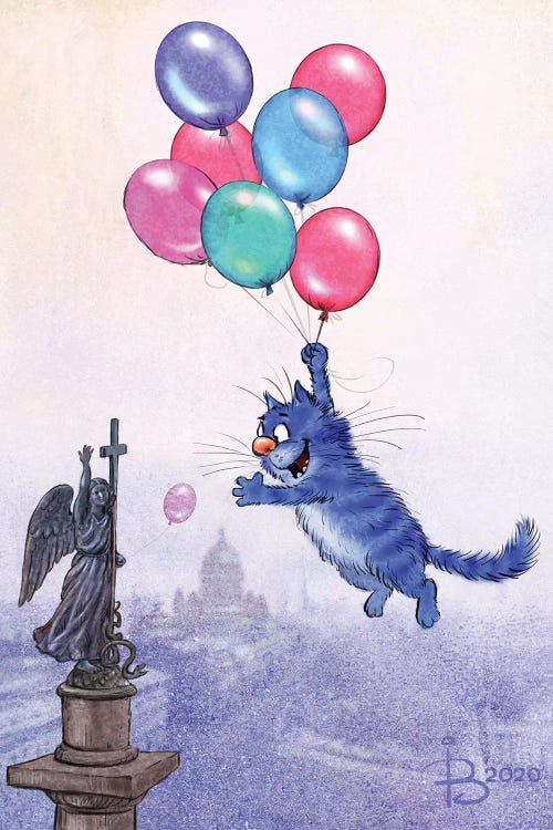 Wall art of blue cat floating above city with balloons by new creator Rina Zeniuk