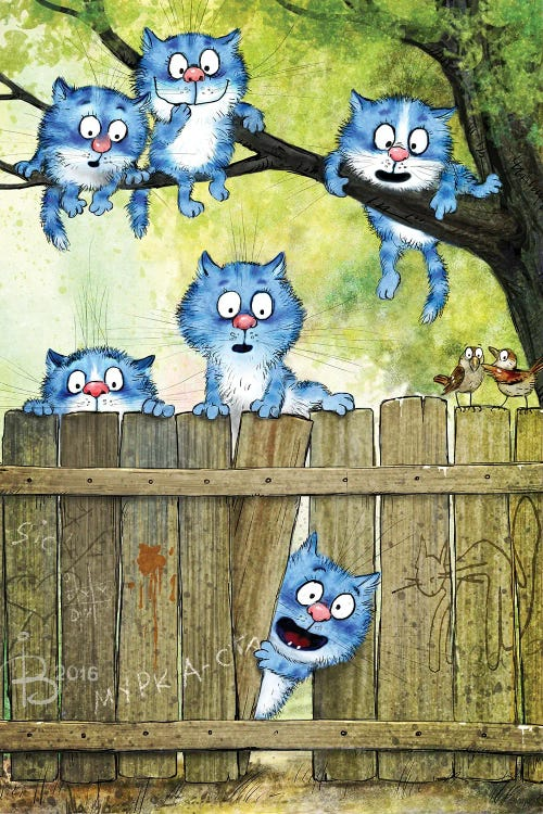 Wall art of six blue cats playing in tree behind fence by new icanvas creator Rina Zeniuk